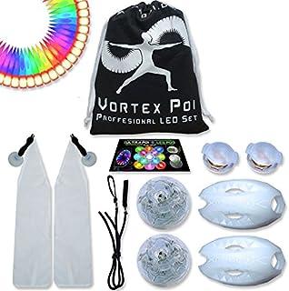 UltraPoi ? Vortex Poi w/UltraKnobs - LED Poi Set - Best Light up Glow Poi - Flow Rave Dance - Spinning Light Toy