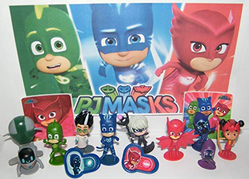 PJ Masks Deluxe Party Favors Goody Bag Fillers 14 Set with 10 Figures, 2 Fun Stickers, 2 PJRings Featuring Romeo, Evil Robot, Gekko, Owlette, Catboy and More!
