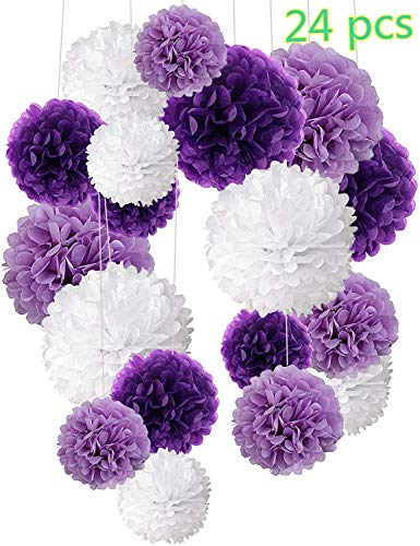24 piezas Pompon de papel de seda, bolas de papel en forma de flor para fiestas de cumpleanos, bodas, baby shower, shower de novia o decoracion de festivales, Violeta, lavanda y blanco