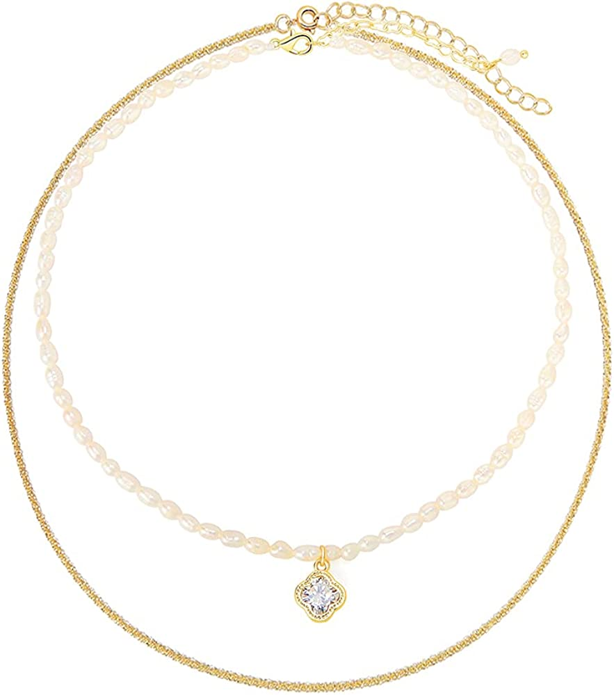 Pearl and Gold Chain Necklace,Four Leaf Clover Necklace&Cable Pendant Chain Necklace,2-in-1 Half Pearl Half Chain Necklace Fashion Jewelry Accessories Gifts for Women Egirl