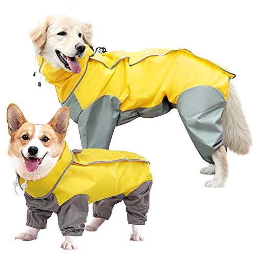 SUNFURA Full Body Dog Raincoat, Waterproof Dog Poncho Jacket with Adjustable Drawstring Removable Hood and Leash Hole, Lightweight Rainwear with Magic Sticker for Small Medium Large Dog Yellow XXL