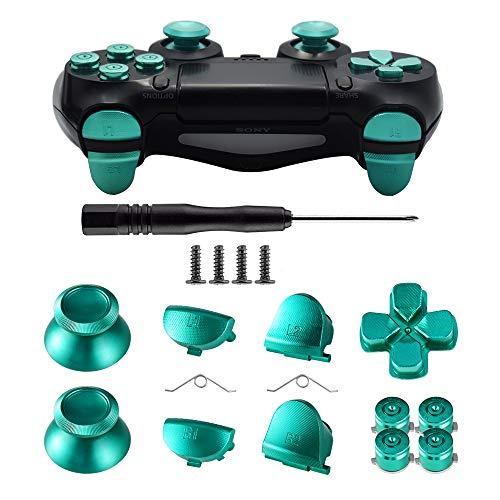 TOMSIN Metal Buttons for DualShock 4, Aluminum Metal Thumbsticks Analog Grip & Bullet Buttons & D-pad & L1 R1 L2 R2 Trigger for PS4 Controller Gen 1 (Green)