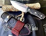 NIETO - 144-M. Cuchillo de Supervivencia Nieto PANZER. Acero BÖHLER. Mango de Mikarta negra. Hoja 9,5 cm. Funda de cuero . Herramienta para Caza, Pesca, Camping, Outdoor, Supervivencia y Bushcraft