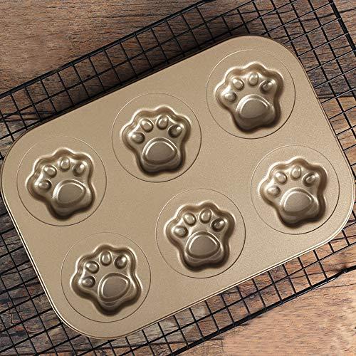 Backform mit 6 Gittern, hohle Katzenkrallen, aus Karbonstahl, antihaftbeschichtet, Kuchen-Backform, Donut-Form, Küchenzubehör, Backblech für Muffins, Kuchen, Kekse, Süßigkeiten