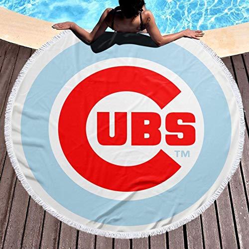 Chica-go Cu-bs - Toalla de playa redonda con borlas de microfibra suave para verano, natación y picnic