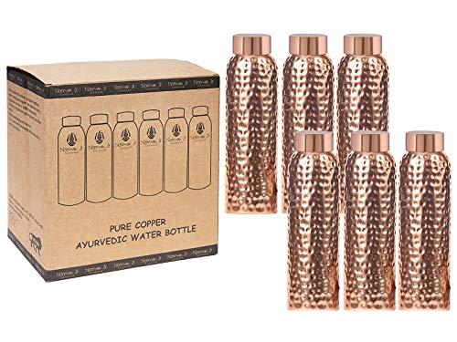 NORMAN JR Botella de agua de cobre puro de 1 litro original mate estilo martillado recipiente de cobre para deportes, fitness, yoga, beneficios naturales para la salud, paquete de 6