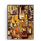 ZNNHERO Pintura al óleo de fama Mundial Adultos violín y Uvas por Pablo Picasso Cuadro de Pared Regalo único-50x70cm sin Marco