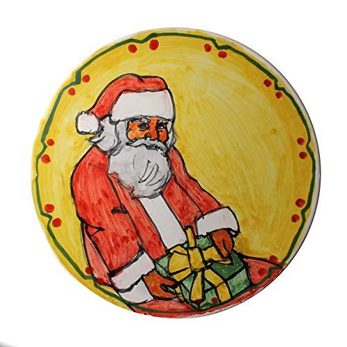 Weihnachtsmann-Handverzierte Keramikplatte im Durchmesser Cm 21,4.MADE IN ITALY Toscana Lucca, Zertifikat.