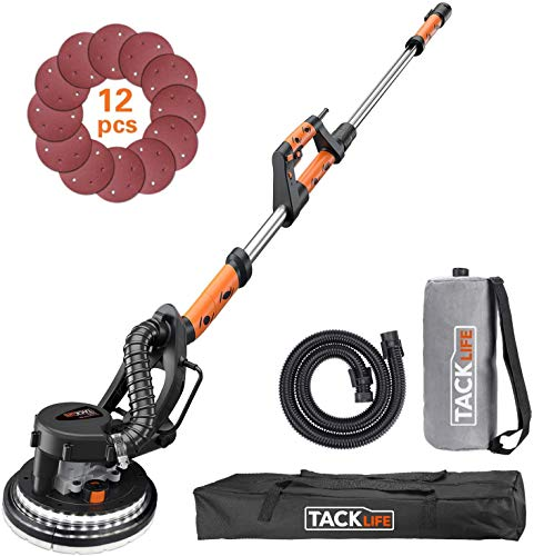 TACKLIFE Drywall Sander 6.7A(800W), Automatic Vacuum System Enable Efficient Dust Absorption, 12 Sanding Discs Variable Speed 500-1800RPM Electric Drywall Sander with LED Light and Carry Bag PDS03A