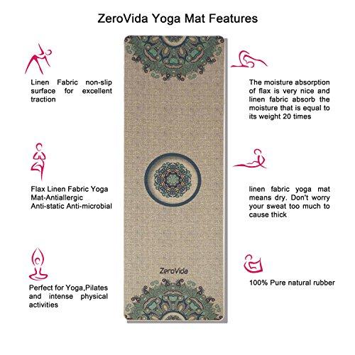ZEROVIDA Tapis de Yoga Lin Naturel Antidérapant 5MM Yoga Mat Design Indien Exotiques Caoutchouc Ecologique Non-Toxique Résistant Sueur Idéal pour Le Hot Yoga Bikram Ashtanga Pilates 183 * 61 * 0.5cm