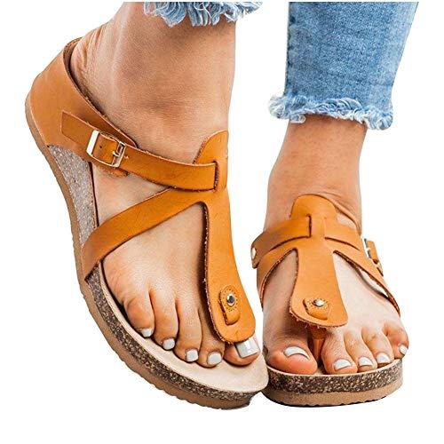 Sandales D'été Confortables pour Femmes Pantoufles D'été Femmes Sandales Pantoufle Chaussures De Plage pour Tongs D'intérieur Et D'extérieur Chaussures Mode Femme,Orange,37