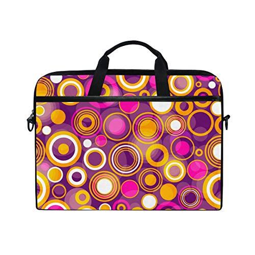 FOURFOOL 15-15.6 inch Laptop Bag,Large and Small Translucent Pink Orange White Balls,New Canvas Print Pattern Briefcase Laptop Shoulder Messenger Handbag Case Sleeve