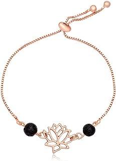 MANZHEN Gold Silver Lotus Flower Lava-Rock Adjustable Bracelet for Girls