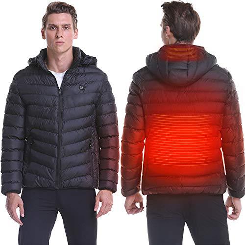 Roboraty Winter Verwarmde jas voor heren, infraroodverwarming, warme kleding, met USB-interface, lichte jas, elektrische verwarming, mantel, outdoor, wandelen, jacht, kamperen, skiën XXXL zwart