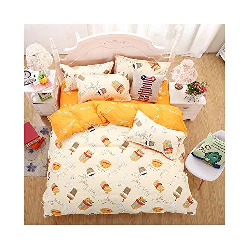 AmDxD Bettlaken, Bettbezug und Kissenbezügen aus Polyester Gebratenes Huhn Und Chips Design 4 Teilig Bettwäsche-Sets Spannbetttuch Gelb