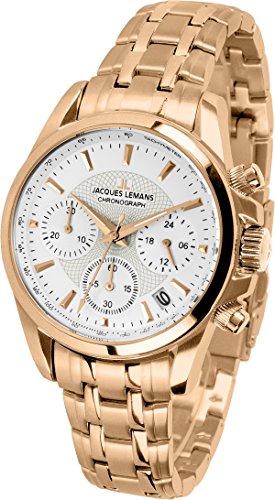 Jacques Lemans Damen Analog Quarz Uhr mit Edelstahl beschichtet Armband 1-1752M