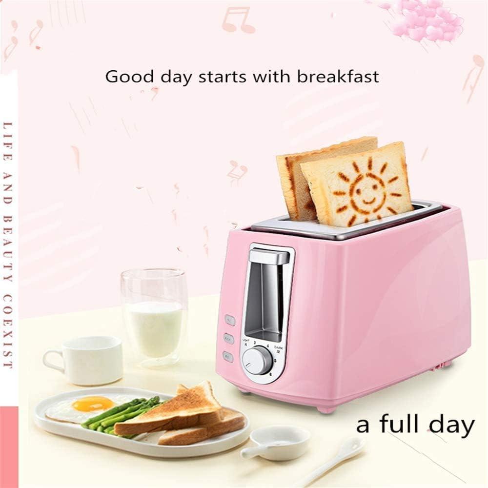 XRZY broodrooster, 2 broodrooster, multifunctionele ontdooiingsfunctie, spiegelei, kleine automatische broodrooster, 6-speed bakken, roze roze