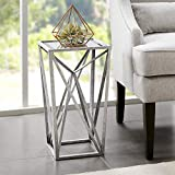 Madison Park Zee Accent Tables For Living Room, Glass Top Hollow, Small Metal Frame Geometric Angular Design Luxe Modern Stylish Nightstand Bedroom Furniture, Silver