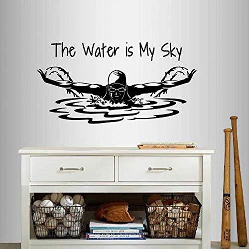WALSITK Wand Vinyl Aufkleber Das Wasser ist Mein Himmel Phrase Zitat Schwimmen Mädchen Frau Schwimmer Schmetterling Sport Removable Mural Design 110x56cm