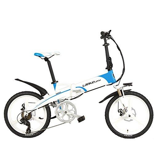 LANKELEISI G660 Elite 20' Pieghevole Bicicletta a pedalata assistita, 48V Batteria al Litio, Telaio in Lega di Alluminio, Ruota Integrata, 5 Grado Assist,Pedelec