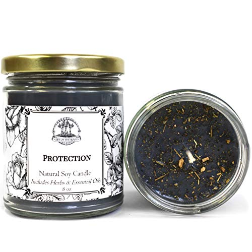 Art of the Root Protection Soy Herbal Candle 8 oz for Negativity, Psychic Attacks & Evil Intentions Wiccan Pagan Hoodoo Conjure