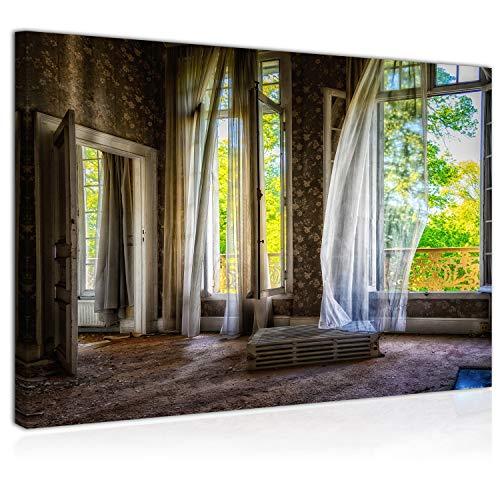 Topquadro Cuadro Imagen sobre Lienzo 70x50cm, Casa Abandonada, Ruinas, Estilo Antiguo, Deshabitado, Vintage y Retro - Decoración de Pared - Una Pieza