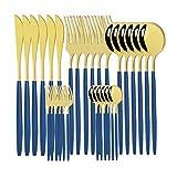Oneriverspring40 30 PCS Conjuntos de vajilla de Oro Blanco Conjunto de Cubiertos de Acero Inoxidable Cubiertos de Oro Cubiertos Juego de vajillas Western Spoon Fork Knife Set (Color : Blue Gold)