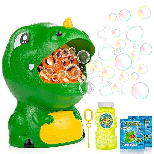 WolinTek Bubble Giocattoli da Bagno, Macchinetta per Bolle di Dinosauro Bolla Blower Giocattolo per Vasca da Bagno con Filastrocca per Bambini Piccoli