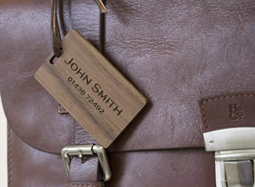 Solid Walnut laser engraved luggage tag | Luggage Tag | Wood luggage tag | personalized Custom luggage tag | Monogram luggage tag Active