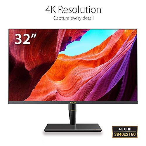 ASUS PA32UC-K 32'' Monitor Professionale, 4K IPS, Quantum Dot, HDR 1000, UltraHD, 384 zones local dimming, 99.5% Adobe RGB/95% DCI-P3, E 2, Thunderbolt 3, HDMI 2.0b, USB Type C, X-Rite i1 Display Pro