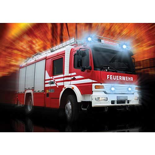 Vlies Fototapete PREMIUM PLUS Wand Foto Tapete Wand Bild Vliestapete - Feuerwehr Feuerwehrauto Auto Blaulicht - no. 2242, Größe:152.5x104cm Vlies