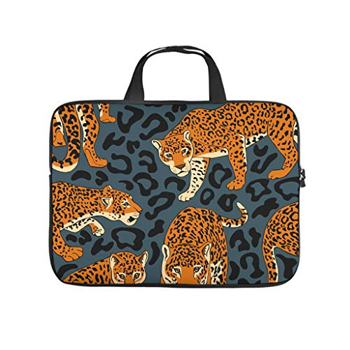 XINGYUE Animal Brown Leopard Laptop Sleeve Funny 3D Print Notebook Briefcase Anti-scratch Neoprene Tablet Sleeves for Businessmen Office Staff White 17inch