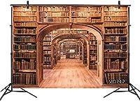 ZPC本棚の背景ヴィンテージ本棚アンティーク本古代ヨーロッパのレトロなライブラリ7X5FTビニール写真背景写真撮影スタジオの小道具