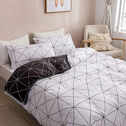 HALOVIE - Funda nórdica de 135 x 200 cm con funda de almohada, juego de funda de edredón, cómodo, juego de cama, regalo para hombres y mujeres, diseño simple y elegante