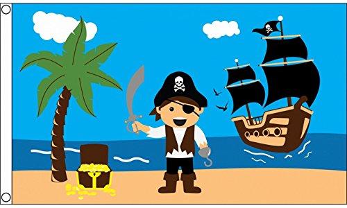 1000 Flags Coffre au trésor de Pirate Bateau 5 'X3' Drapeau (150 cm x 90 cm)