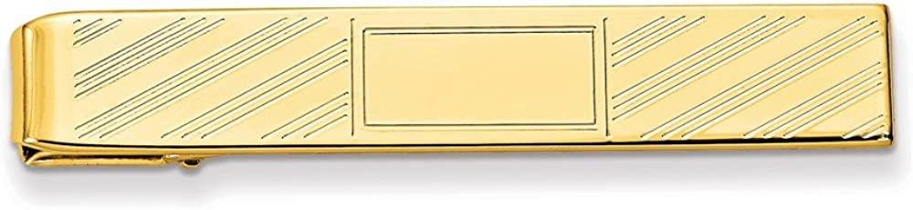 Sonia Jewels Gold-Plated Lined Tie Bar with Center Square