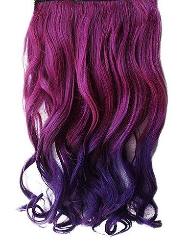 16 pouces clip en dégradé violet Wavy Hair Extensions synthétiques avec 5 Clips