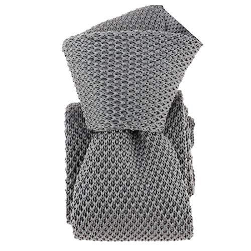 Clj Charles Le Jeune. Cravate tricot. Dandy Farmer, Microfibre. Gris, Uni.