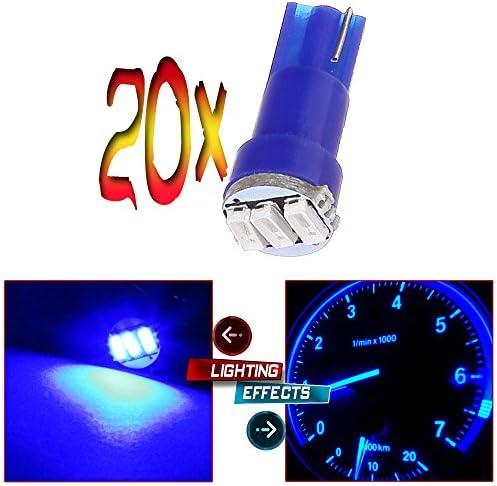 cciyu 10 Pack White T5 73 Wedge 3-3014SMD Instrument Gauge Dash Light LED Bulbs