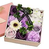 SENZHILINLIGHT Regalo de cumpleaños Rosa Flor de jabón Rosa Caja Cuadrada pequeña Caja de Flores Exquisita con Fragancia