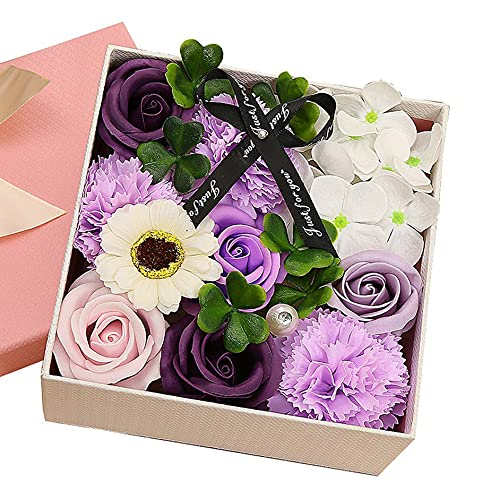 SENZHILINLIGHT Regalo di Compleanno Fiore di Sapone Rosa Scatola Quadrata Piccola Rosa Scatola di Fiori squisita con fragranza