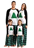 IFFEI Matching Family Pajamas Sets Christmas PJ's Holiday Christmas Tree Printed Sleepwear with Plaid Pants Kids: 3-4 Years
