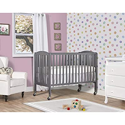 Dream On Me Folding Full Size Convenience Crib in Storm Grey by Dream on Me Dropship