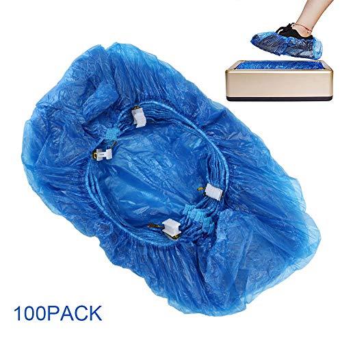 100 Stück Schuhüberzieher Einweg Rutschfest Überschuhe aus Blauem Kunststoff Langlebige wasserdichte Schuhüberzüge für Kinder Stiefelüberzüge für Kinder Frauen Männer