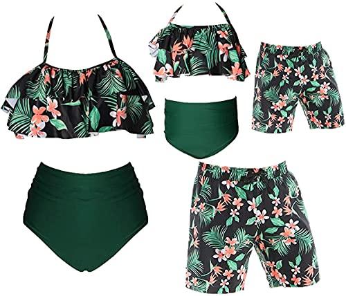 Eghunooye Familie Bademode Mama Tochter Zweiteiliger Rüschen Bikini Set Vater Sohn Swim Trunk Badeanzug Beach Wear für Damen Herren Kinder Junge Mädchen (Grün Junge, 8-12Jahre)