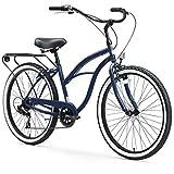 sixthreezero Around The Block Women's 7-Speed Beach Cruiser Bicycle, 26' Wheels, Navy Blue with Black Seat and Grips