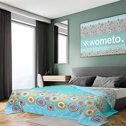 XXL Tagesdecke 220x240 cm OekoTex - Kreise Mandala gesteppt blau grün türkis Petrol Decke Bett Überwurf Wohndecke Steppdecke Landhaus-Stil modern bunt indisch