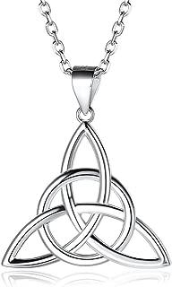 Handmade Irish Celtic Knot Pendentif Croix En Acier Inoxydable Collier Pour Hommes Femmes