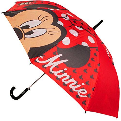 alles-meine.de GmbH großer XL Regenschirm - AUTOMATIK -  Disney - Minnie Mouse - rot  - Kinderschirm Ø 95 cm / Kinder - groß Stockschirm mit Griff - Regenschirme - für Mädchen ..