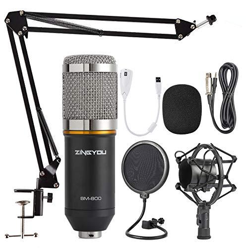 ZINGYOU Microfono de Condensador Kit, BM-800 Micro Set Estudio Profesional, Micrófono Escritorio con Pie&Brazo para PC,Grabar,Gaming,Podcast(Plata)